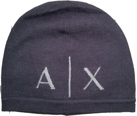 ARMANI EXCHANGE Blue Navy Classic Knit AX Logo Beanie Hat