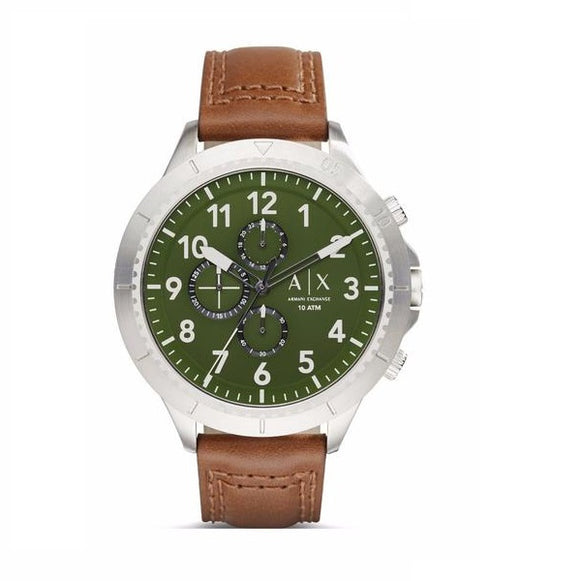 ARMANI EXCHANGE AX1758 Aeroracer Olive Green Dial Brown Leather Band