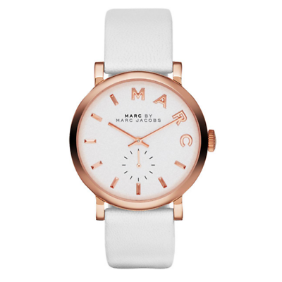 Marc Jacobs MBM1283 Baker Rose Gold White Leather Band