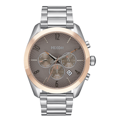 NIXON Bullet Silver Rose Gold Taupe Stainless Steel Chronograph