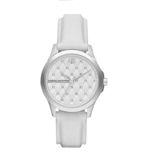 ARMANI EXCHANGE AX5223 Lady Hampton Silver White Leather Quilted