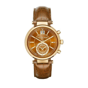 Michael Kors MK2424 Sawyer Gold Amber Croc Embossed Leather Band Brown