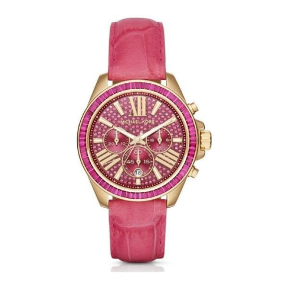 Michael Kors MK2449 Wren Gold Pink Embossed Leather Pave Glitz Dial