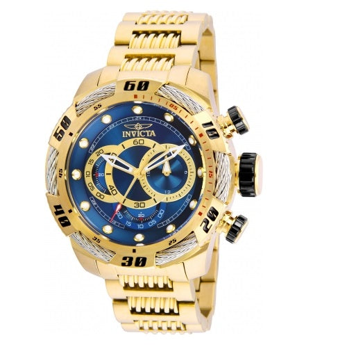 Invicta Speedway Gold Tone Blue Dial Chronograph