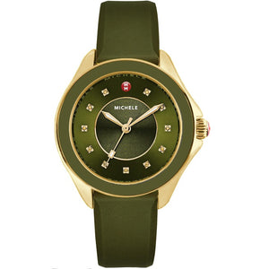 Michele MWW27A000019 Cape Olive Green Topaz Gold Dial Chrono
