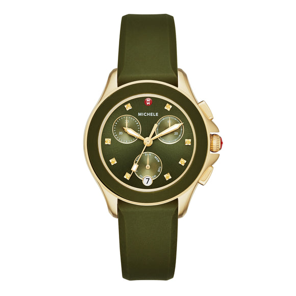 Michele MWW27C000006 Cape Olive Green Gold Sunray Dial Chrono