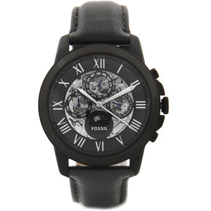 Fossil ME3028 Grant Black Dial Black Leather Automatic Skeleton Chronograph