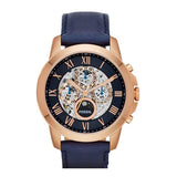 Fossil ME3029 Grant Rose Gold Blue Leather Automatic Skeleton