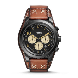 Fossil CH3066 Oakman Black Brown Luggage Leather Band Chronograph