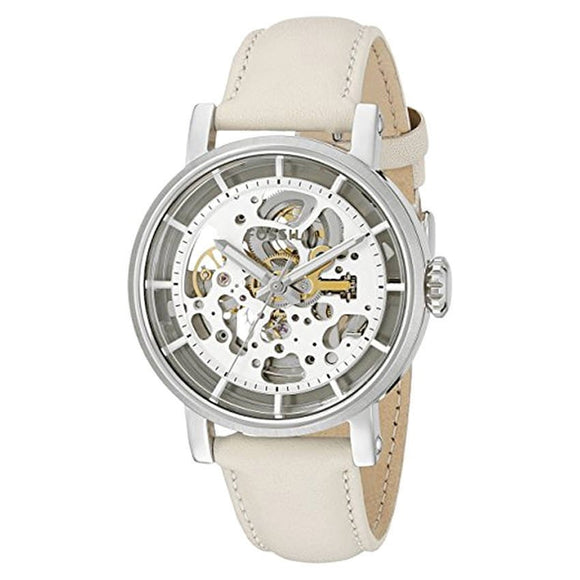 Fossil ME3069 Boyfriend Silver Beige Leather Automatic Skeleton