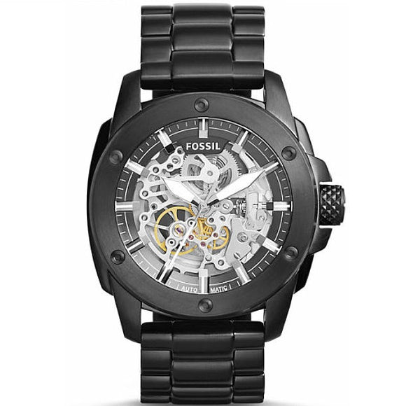 Fossil ME3080 Modern Machine Automatic Black IP Stainless Skeleton Dial