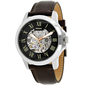 Fossil ME3100 Grant Silver Black Dial Dark Brown Leather Automatic Skeleton