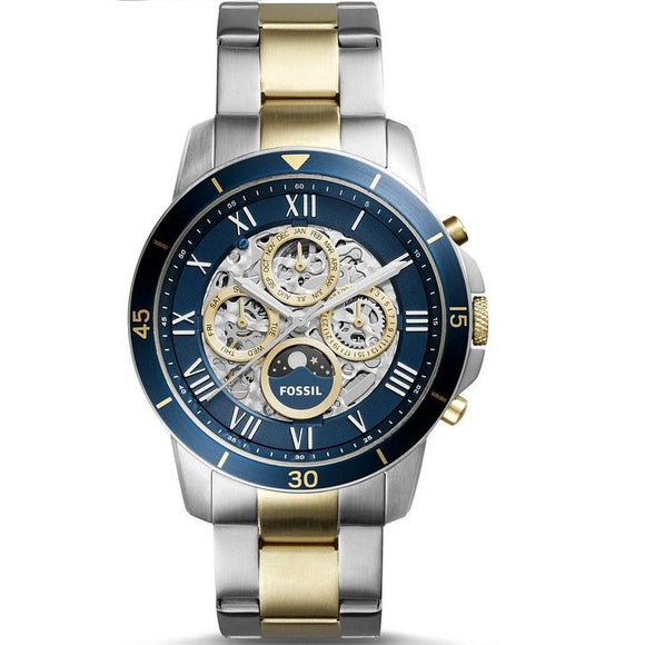 Fossil ME3141 Grant Silver Gold Two Tone Blue Dial Automatic Chrono