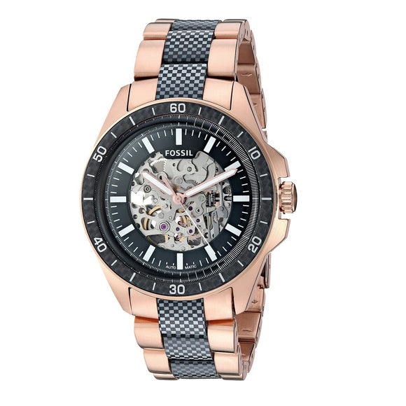 Fossil ME3147 Sport 54 Rose Gold Carbon Fiber Automatic Skeleton Dial
