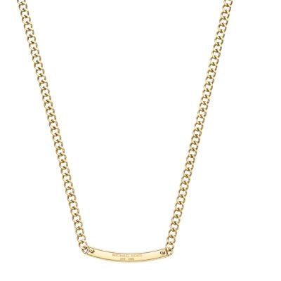 Michael Kors MKJ3354 Glitz Gold Reversible Logo Plaque Necklace