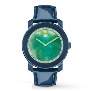 Movado 3600267 Bold Green Watercolor Dial Blue Patent Leather Swiss