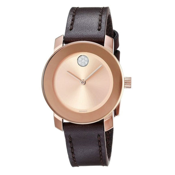 Movado 3600438 Bold Rose Gold Sunray Dial Brown Leather Band Swiss