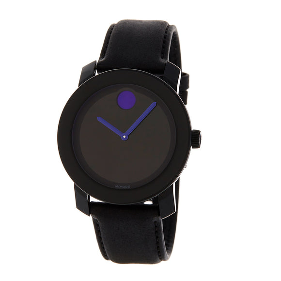 Movado 3600479 Bold Black Dial Black Leather Purple Accent Swiss