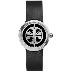 TORY BURCH TRB4002 Reva Black Leather Silver Dial Logo Swiss