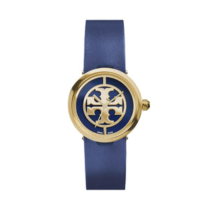 TORY BURCH TRB4003 Reva Blue Leather Gold Dial Logo Swiss