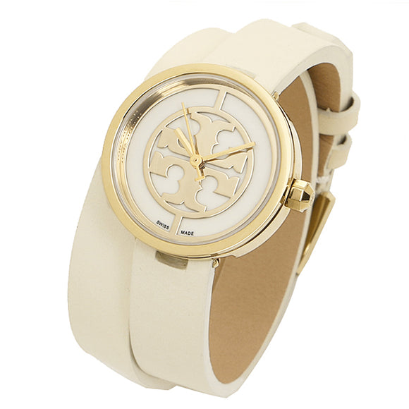 TORY BURCH TRB4007 Reva Ivor Double Wrap Leather Gold Dial Logo Swiss