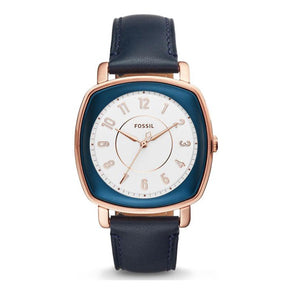 FOSSIL ES4197 Idealist Rose Gold Dark Blue Leather Band Watch