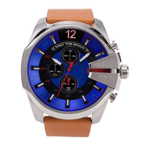 Diesel DZ4319 Mega Chief Silver Blue Dial Brown Leather