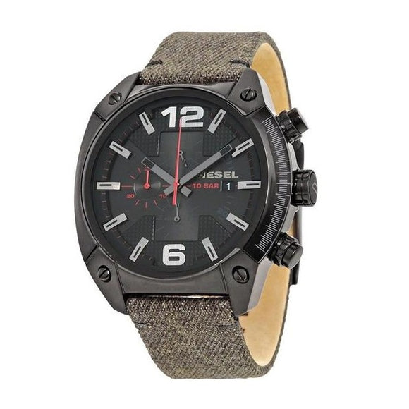 Diesel DZ4373 Overflow Black Ion Grey Denim Fabric Strap Stainless