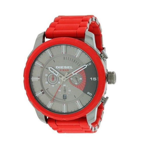 Diesel DZ4384 Stronghold Gunmetal Red Silicone Band Chronograph