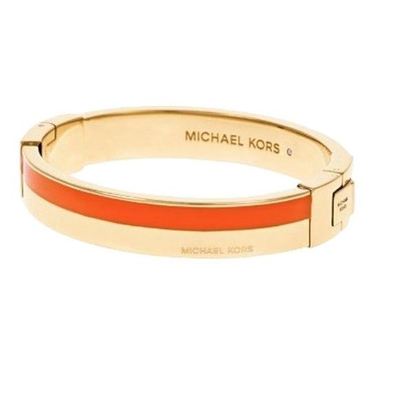 Michael Kors MKJ4444 Maritime Color Block Gold Orange Hinge Bracelet