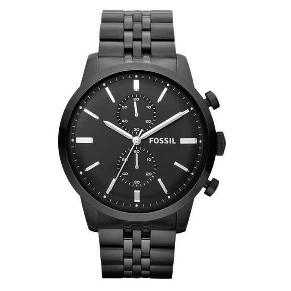 Fossil FS4787 Townsman Black Silver Accents Stainless Chronograph