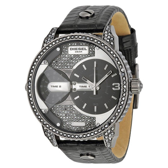 Diesel DZ7328 Mini Daddy Black Embossed Leather Pave Stainless Steel