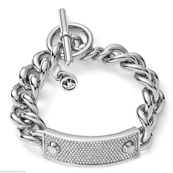 Michael Kors MKJ3608 Silver Pave Crystal Plaque Toggle Chain Bracelet MKJ3543710