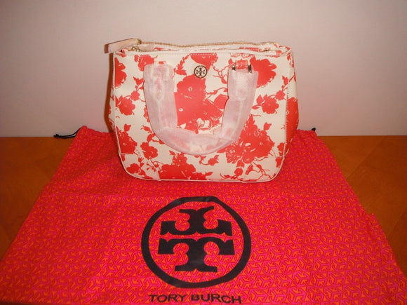 Tory Burch Robinson Small Double Zip Tote Fire Orange Multi 801 Purse