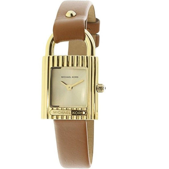 Michael Kors MK2693 Isadore Gold Brown Leather Band Two Hand