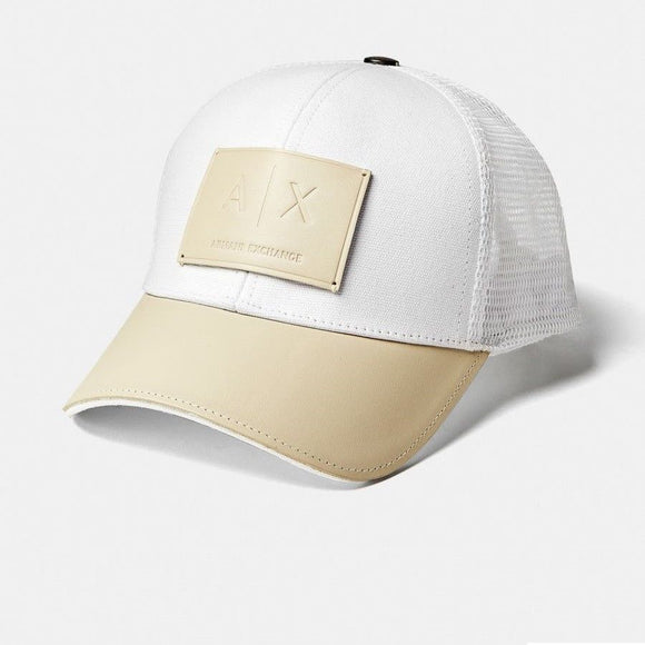ARMANI EXCHANGE White Beige Leather A|X Logo Patch Mesh Trucker Adjustable Hat