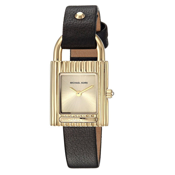 Michael Kors MK2692 Isadore Gold Black Leather Band Two Hand