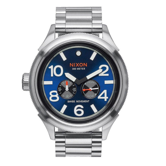 NIXON October Tide Silver Blue Sunray Dial Swiss Movement