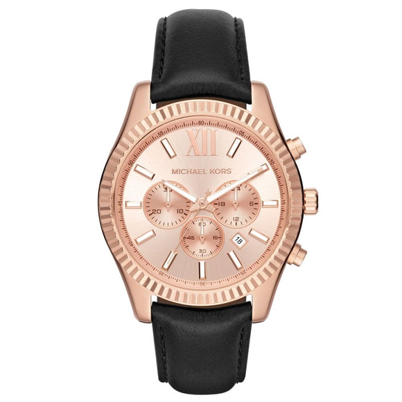 Michael Kors MK8516 Lexington Rose Gold Dial Black Leather