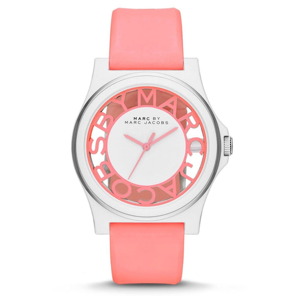Marc Jacobs MBM4016 Henry Skeleton Neon Pink White Watch Rubber