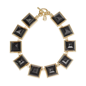 Michael Kors MKJ2899 Gold Black Large Pyramid Necklace