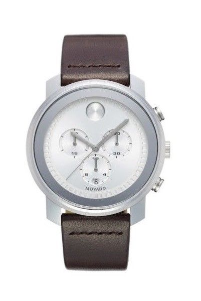 Movado 3600465 Bold Silver Chronograph Dark Brown Band Swiss