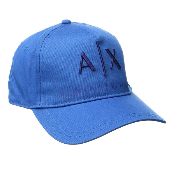 ARMANI EXCHANGE Blue A|X  Logo Cotton Adjustable Hat