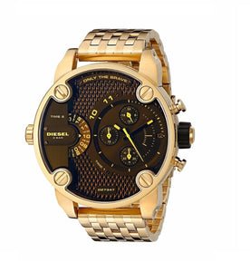 Diesel DZ7347 Little Daddy Gold Black Dial Iridescent Dial Dual Time
