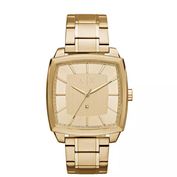ARMANI EXCHANGE AX2364 Gold Square Stainless Steel Quartz