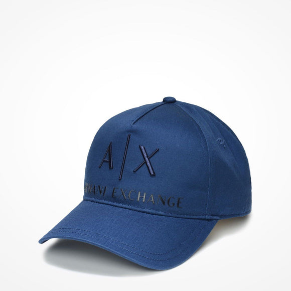 ARMANI EXCHANGE Navy Blue A|X  Logo Cotton Adjustable Hat