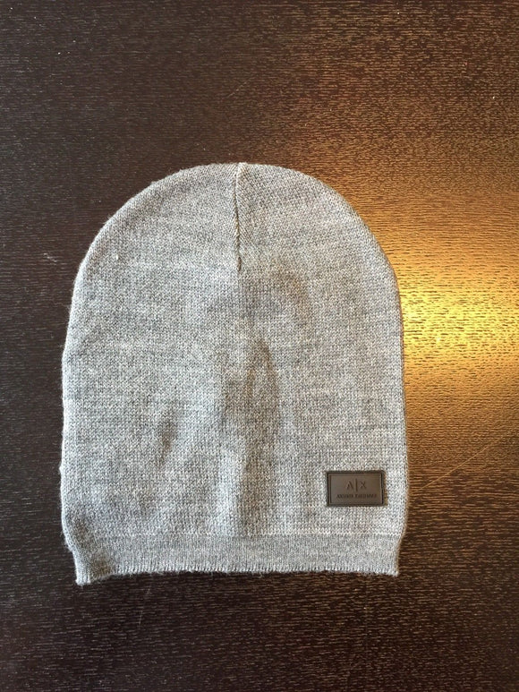 ARMANI EXCHANGE Grey Classic Knit Logo Patch Wool Beanie Skull Hat A|X