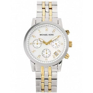 Michael Kors MK5057 Ritz Two Tone Gold Silver Glitz Stainless Steel Quartz