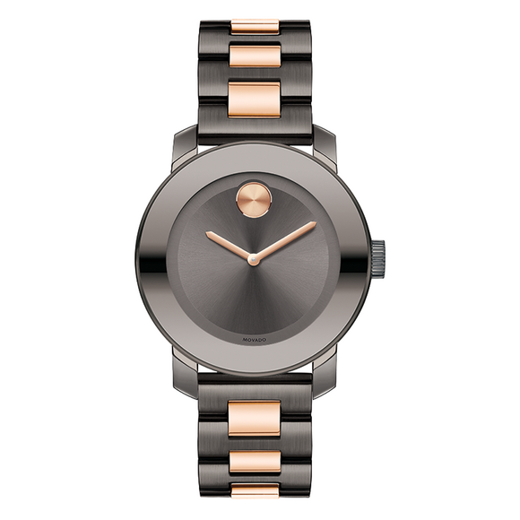 Movado 3600327 Bold Metallic Gray Rose Gold Band Stainless Steel Swiss