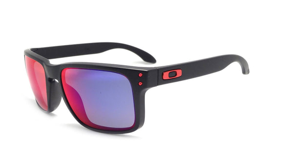 OAKLEY HOLBROOK OO9102-36 Matte Black Positive Red Iridium Sunglasses